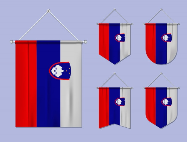 Set di appendere bandiere slovenia con trama tessile. forme di diversità del paese di bandiera nazionale. stendardo modello verticale.