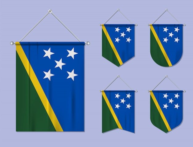 Set di bandiere sospese isole salomone con trama tessile. forme di diversità del paese di bandiera nazionale. stendardo modello verticale.