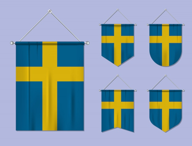 Set di appendere bandiere svezia con trama tessile. forme di diversità del paese di bandiera nazionale. stendardo modello verticale.