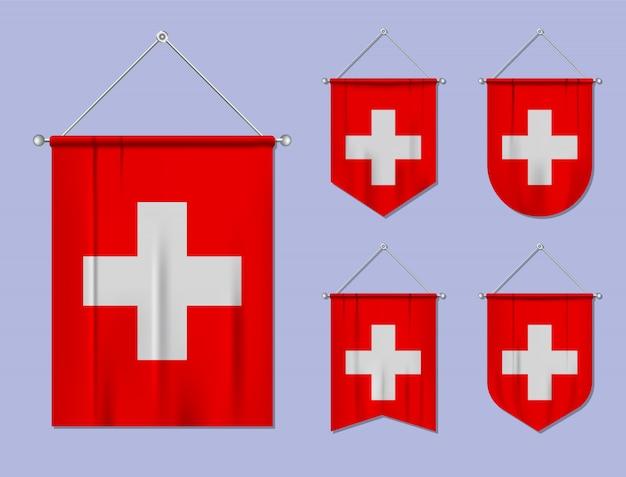 Set di appendere bandiere svizzera con trama tessile. forme di diversità del paese di bandiera nazionale. stendardo modello verticale.