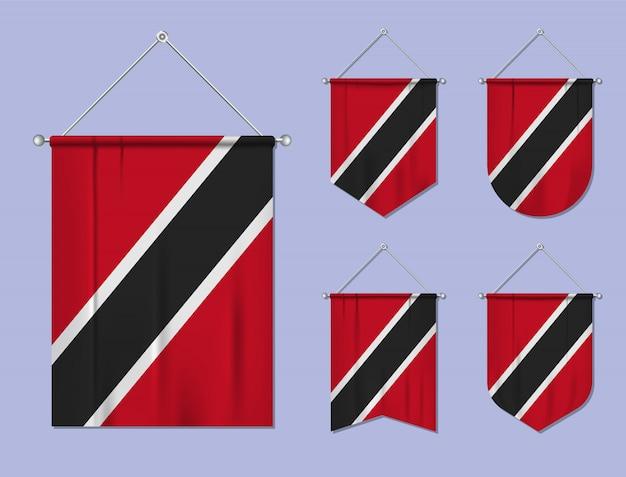 Set di appendere bandiere trinidad e tobago con trama tessile. forme di diversità del paese di bandiera nazionale. stendardo modello verticale.