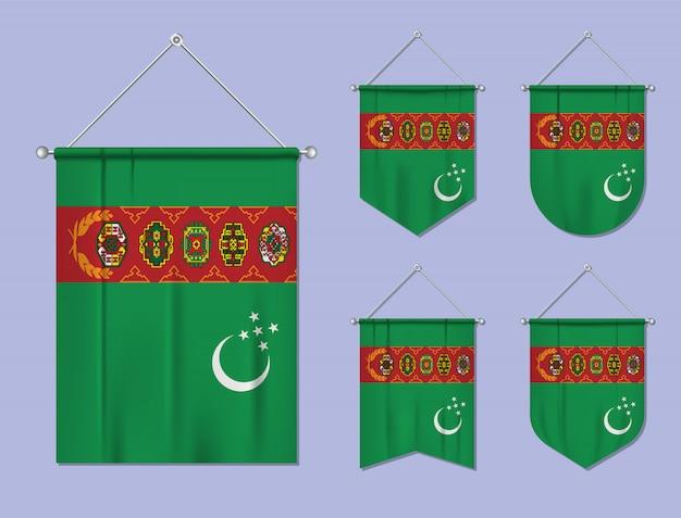 Set di appendere bandiere turkmenistan con trama tessile. forme di diversità del paese di bandiera nazionale. stendardo modello verticale.