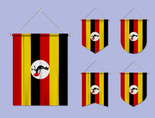 Set di appendere bandiere uganda con trama tessile. forme di diversità del paese di bandiera nazionale. stendardo modello verticale.