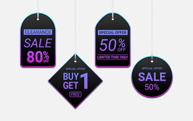 Set di tag di vendita appesi con effetto colore luce al neon