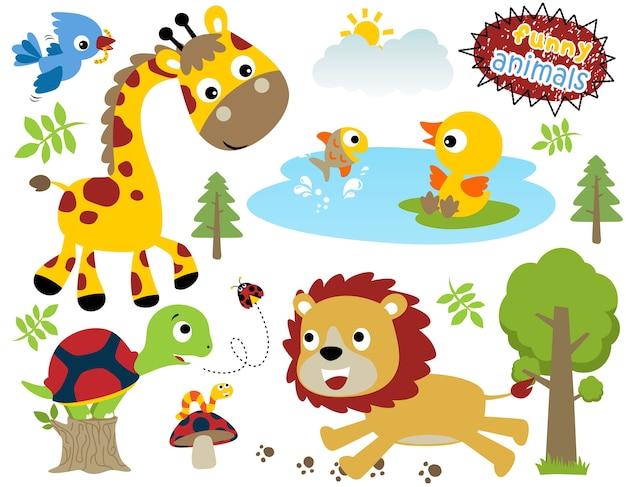 Set di cartoon animali felici