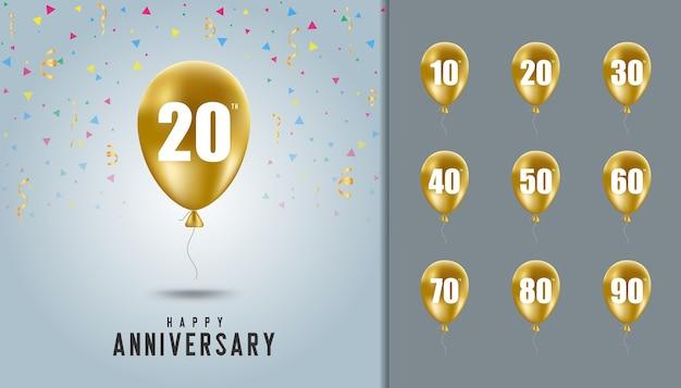 Set di sfondo anniversario felice