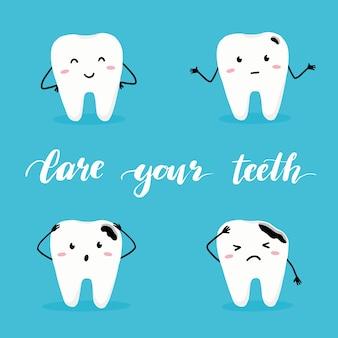 Set di carattere dente felice e cattivo con la faccia