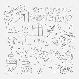 Set di sfondo di doodle di buon compleanno in mano schizzo disegnato