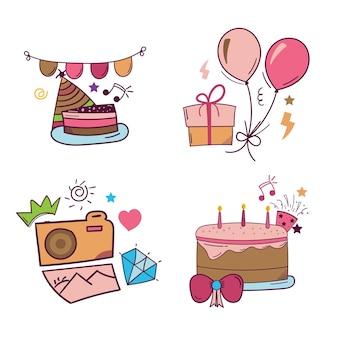 Set di adesivi disegnati a mano di buon compleanno in stile doodle