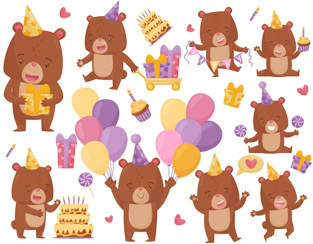 Set di felice orso bruno in diverse azioni. divertente animale umanizzato in cappello da festa. tema di compleanno