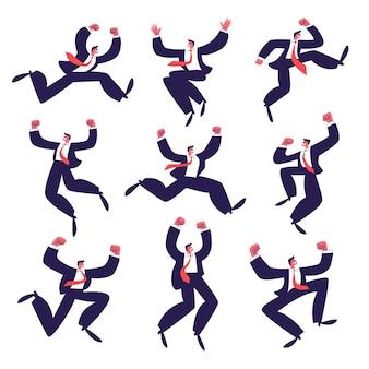 Insieme di uomini d'affari felici che saltano. un gruppo di giovani uomini attivi di successo in vestito con una cravatta rossa.