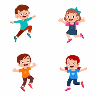 Set di happy cute kid ragazzo e ragazza salta e sorride