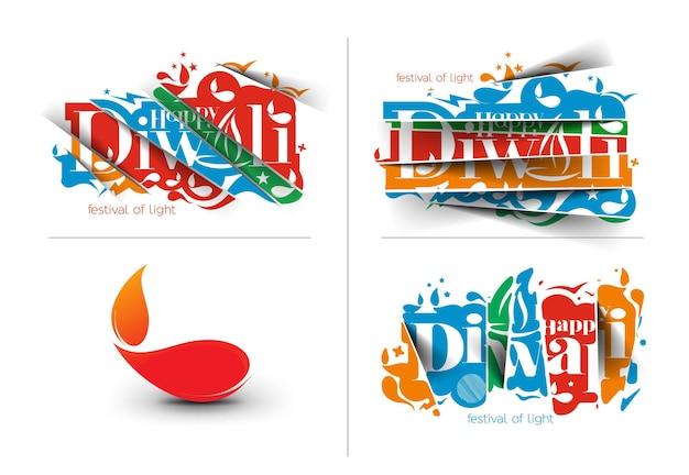 Set di disegno di testo happy diwali. illustrazione vettoriale astratta.