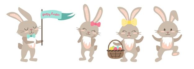 Set di coniglietti di buona pasqua simpatiche decorazioni festive con uova e fiocchi