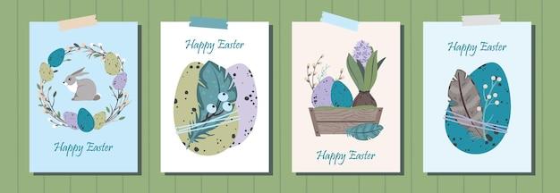 Set di cartoline d'auguri di buona pasqua. simpatiche uova di pasqua, ghirlanda di salice, giacinto, piume.