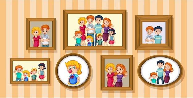 Set di foto di famiglia felice sul telaio in legno