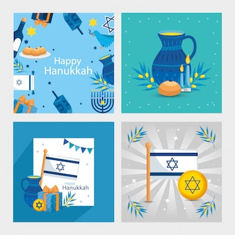 Set di felice hanukkah con decorazione
