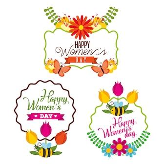 Insieme di segni giorno internazionale felice della donna