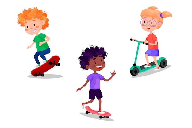 Set di bambini felici in sella a pattini, rulli, scooter e bici. vacanze estive attività all'aperto per bambini. illustrazione su sfondo bianco isolato.