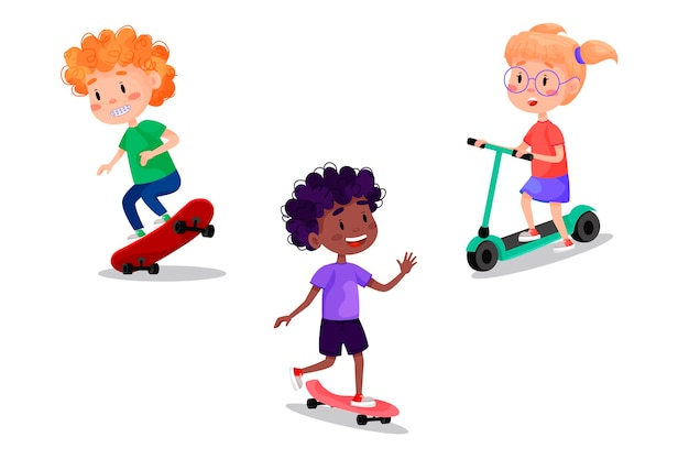 Set di bambini felici che guidano pattini, rulli, scooter e bici. attività all'aperto per le vacanze estive per bambini. illustrazione su sfondo bianco isolato.