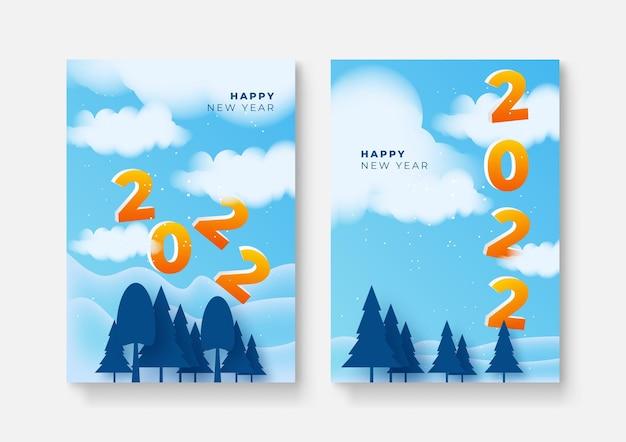 Set di poster di felice anno nuovo, biglietti di auguri, copertine per le vacanze. modelli di design di buon natale con tipografia, auguri di stagione in moderno stile minimalista per web, social media. illustrazione vettoriale.