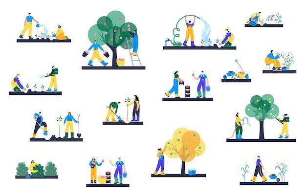 Insieme di persone felici che piantano piantine, innaffiano alberi, raccolgono mele e bacche nel cestino