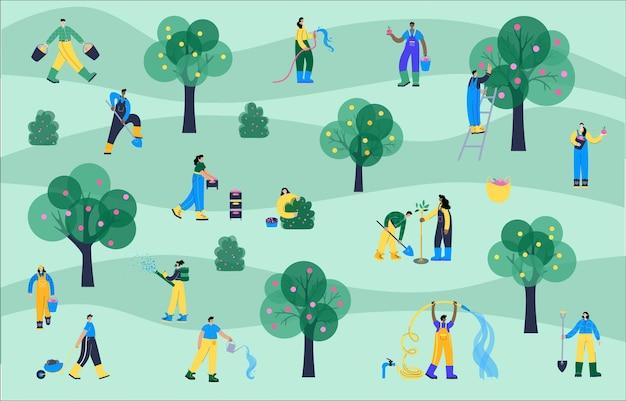 Insieme di persone felici che piantano e innaffiano alberi, raccolgono mele e bacche nel cestino