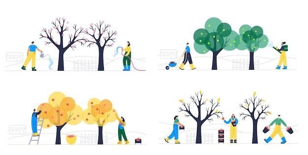 Insieme di persone felici, innaffiando l'albero, raccogliendo mele nel cestino