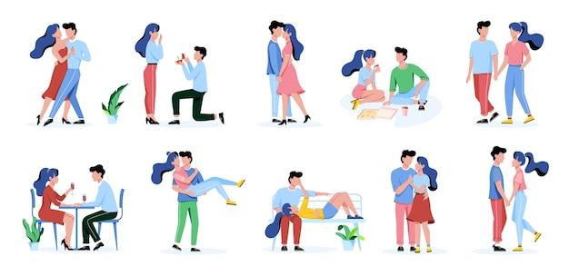 Set di felice coppia romantica. uomo e donna alla data, relazione romantica. illustrazione