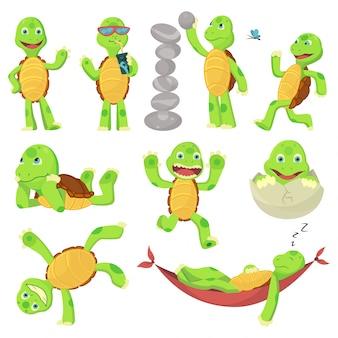 Set di tartaruga felice giovane fumetto in diverse pose. fanny bambino. t-shirt con logo design
