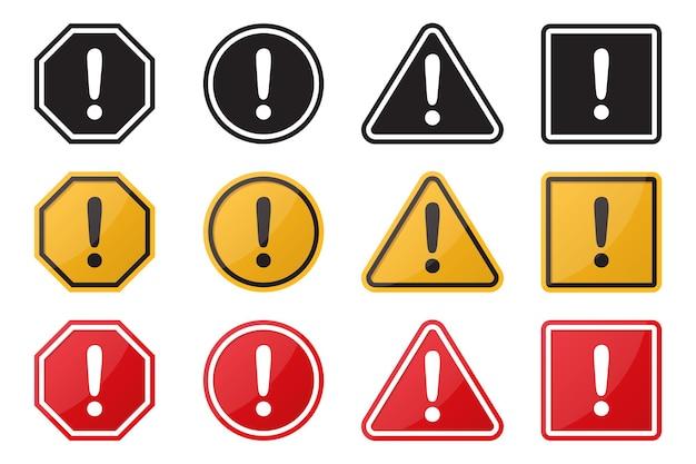 Insieme del segno di attenzione di avvertimento di pericolo. illustrazione