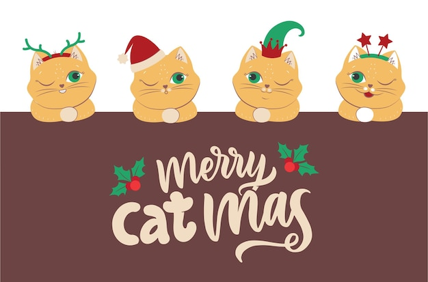 Il set di gatti con la testa con citazione scritta è ottimo per i disegni di buon natale. l'immagine della collezione di animali invernali con cappello, elfo, stelle, corna. l'illustrazione vettoriale