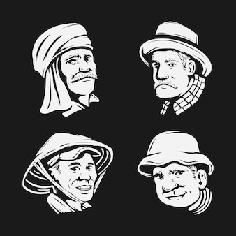 Set di disegno a mano di capo agricoltore.