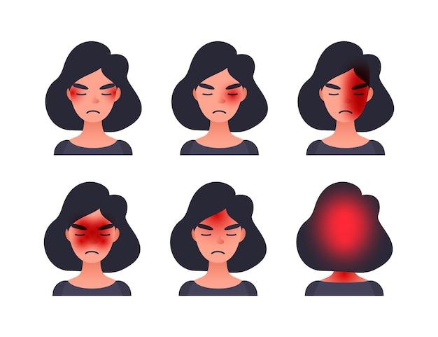 Set di tipi di mal di testa su diverse aree della testa del paziente