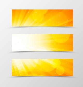 Set di design dinamico di banner di intestazione nei colori arancioni