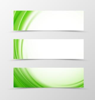 Set di design onda banner di intestazione con linee verdi in stile morbido