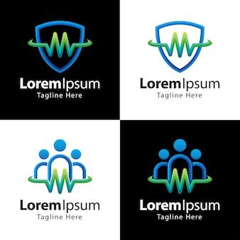 Set di modello di progettazione del logo di assistenza sanitaria
