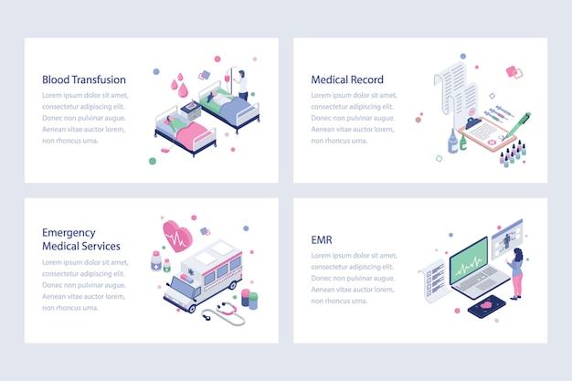Set di vettori isometrici sanitari