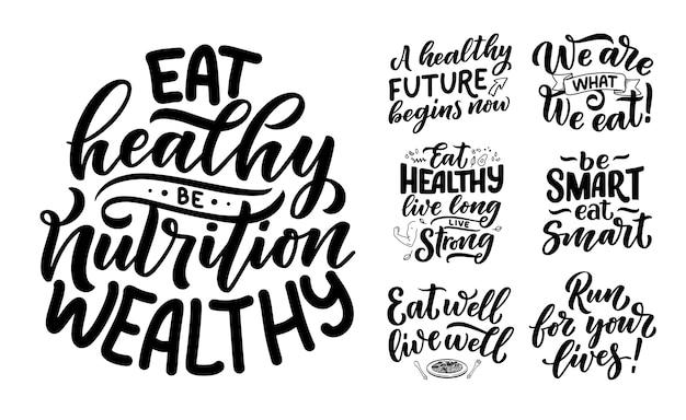 Set di lettere di cibo sano