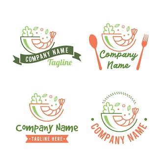 Set di modello di logo poke bowl per alimenti sani con gamberi e insalata di verdure in colore verde e arancione