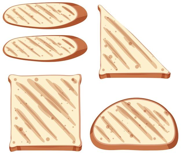 Set di pane tostato sano e pane