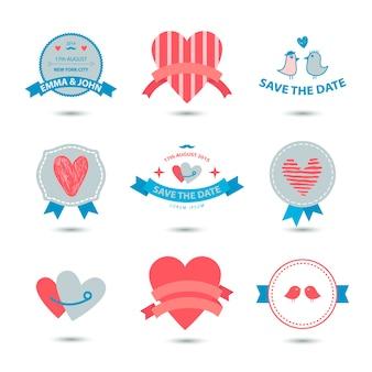 Set di banner cuore, nastri, distintivi d'amore, icone. set di san valentino vintage, collezione romantica, matrimonio
