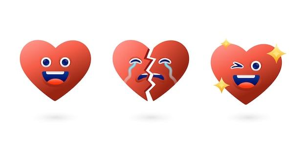 Set di cuore personaggio dei cartoni animati amore e collezioni di illustrazioni vettoriali con focolare rotto