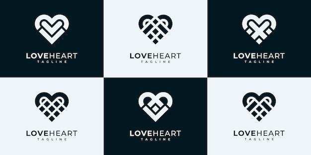 Insieme della raccolta del logo del cuore. amo i modelli di progettazione del logo