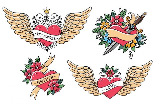 Set di cuore in stile vecchia scuola. cuore con nastro, fiori e parola madre. cuore volante con corona e frase my angel. cuore con pugnale. slyle vecchia scuola.