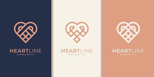 Set di modello di logo a forma di cuore