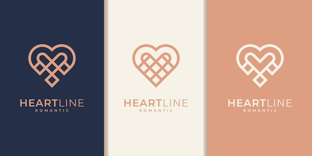 Insieme degli elementi del modello dell'icona del simbolo del cuore. concetto di logotipo di assistenza sanitaria. icona del logo di incontri. modello. collezione di design del logo