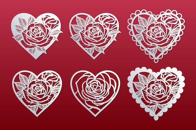 Set di cuori con motivo di rose. modelli per il taglio, taglio laser. carte di san valentino.