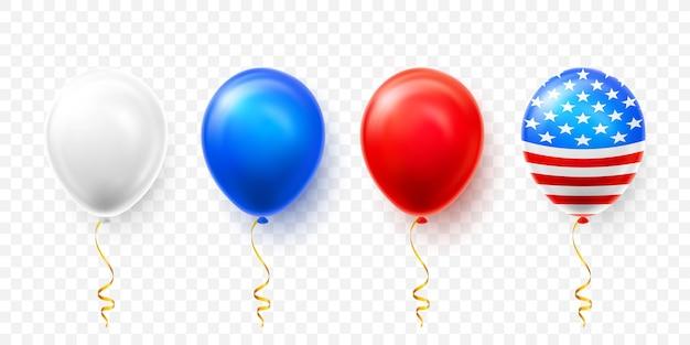 Set di palloncini elio con bandiera americana isolare