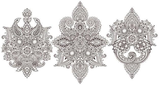 Set di elementi floreali all'henné basati su ornamenti asiatici tradizionali.